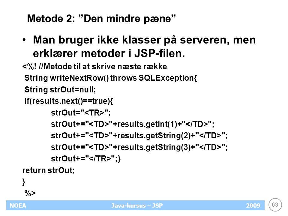 63 NOEA2009Java-kursus – JSP Metode 2: Den mindre pæne Man bruger ikke klasser på serveren, men erklærer metoder i JSP-filen.