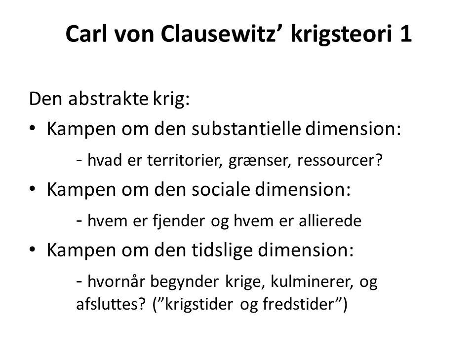 Carl von Clausewitz' krigsteori 1 Den abstrakte krig: Kampen om den substantielle dimension: - hvad er territorier, grænser, ressourcer.