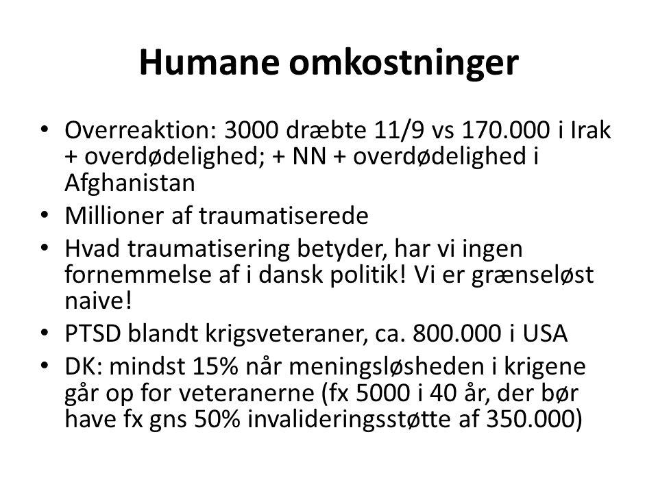 Humane omkostninger Overreaktion: 3000 dræbte 11/9 vs 170.000 i Irak + overdødelighed; + NN + overdødelighed i Afghanistan Millioner af traumatiserede Hvad traumatisering betyder, har vi ingen fornemmelse af i dansk politik.