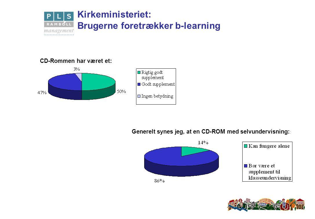 Generelt synes jeg, at en CD-ROM med selvundervisning: : CD-Rommen har været et: Kirkeministeriet: Brugerne foretrækker b-learning