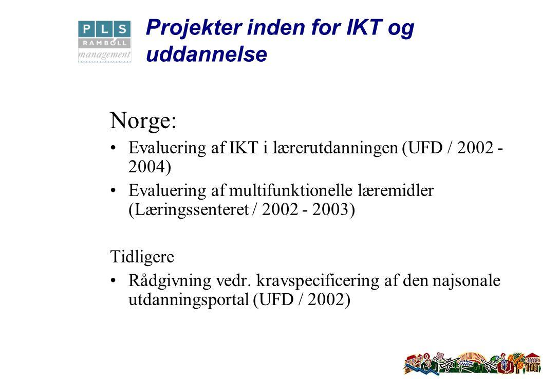 Projekter inden for IKT og uddannelse Norge: Evaluering af IKT i lærerutdanningen (UFD / 2002 - 2004) Evaluering af multifunktionelle læremidler (Læringssenteret / 2002 - 2003) Tidligere Rådgivning vedr.