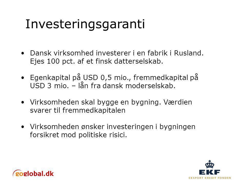 Investeringsgaranti Dansk virksomhed investerer i en fabrik i Rusland.