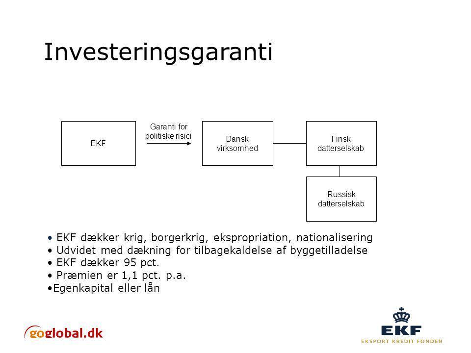 Investeringsgaranti Dansk virksomhed Garanti for politiske risici EKF EKF dækker krig, borgerkrig, ekspropriation, nationalisering Udvidet med dækning for tilbagekaldelse af byggetilladelse EKF dækker 95 pct.