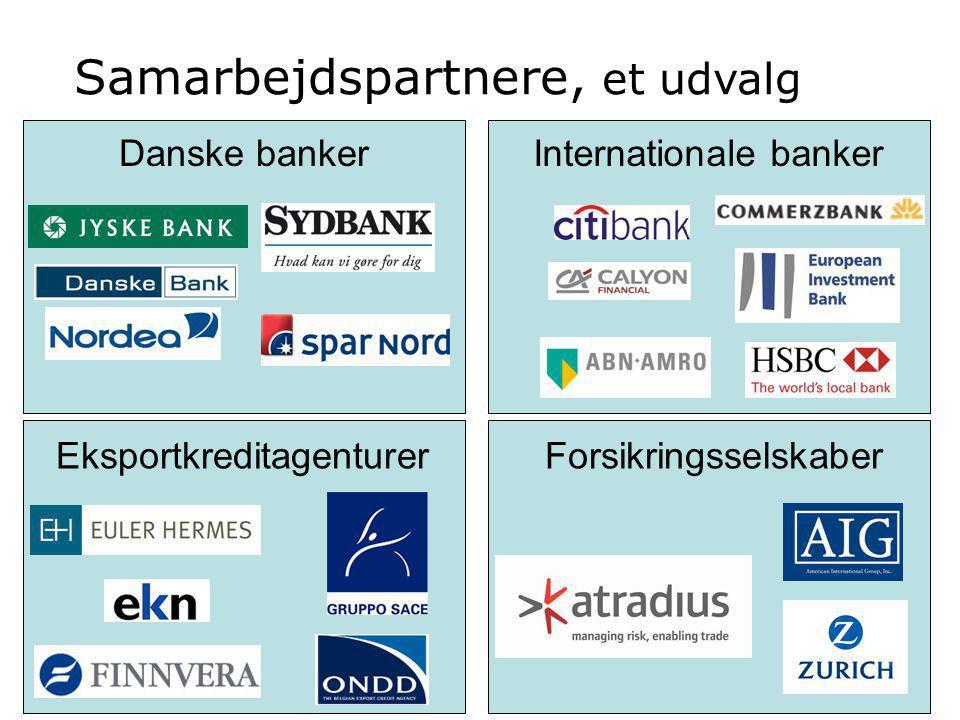 Samarbejdspartnere, et udvalg Danske bankerInternationale banker EksportkreditagenturerForsikringsselskaber
