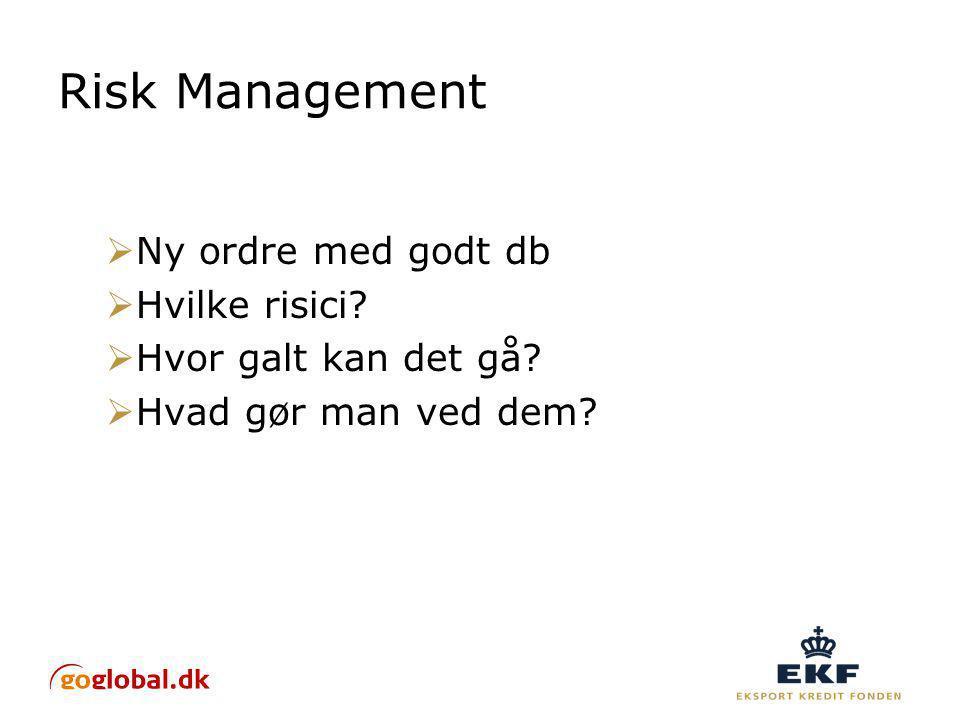 Risk Management  Ny ordre med godt db  Hvilke risici.