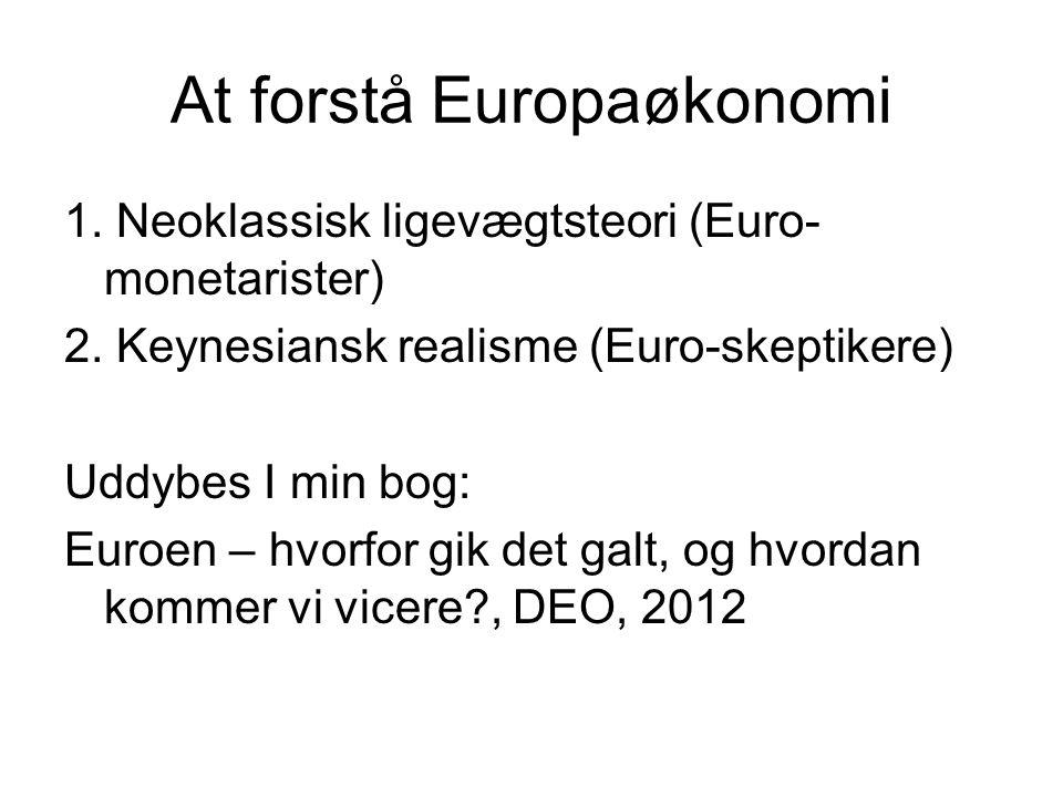 At forstå Europaøkonomi 1. Neoklassisk ligevægtsteori (Euro- monetarister) 2.