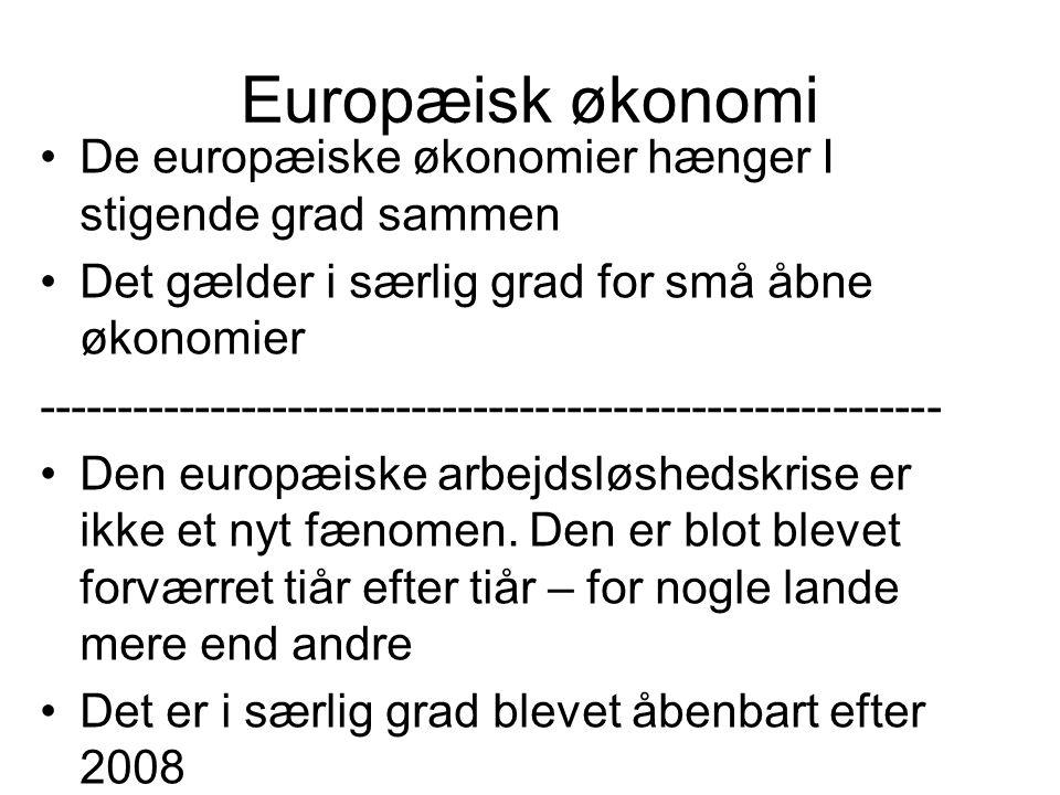 Europæisk økonomi De europæiske økonomier hænger I stigende grad sammen Det gælder i særlig grad for små åbne økonomier ---------------------------------------------------------- Den europæiske arbejdsløshedskrise er ikke et nyt fænomen.