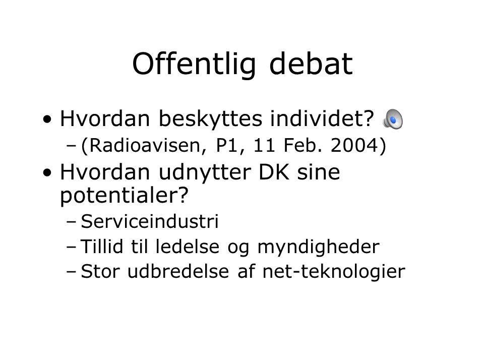 Offentlig debat Hvordan beskyttes individet. –(Radioavisen, P1, 11 Feb.