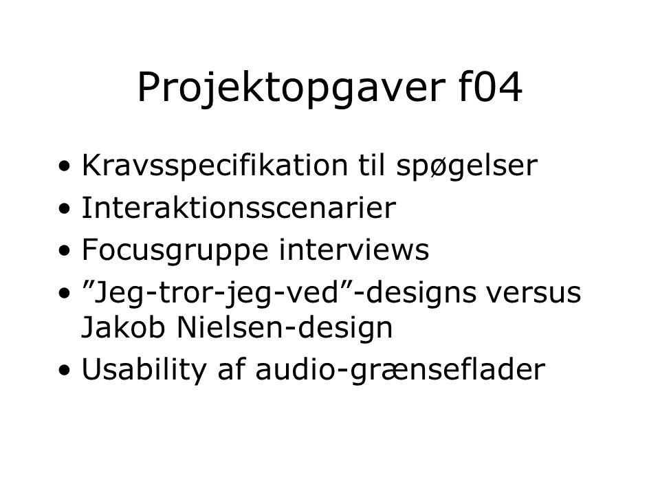 Projektopgaver f04 Kravsspecifikation til spøgelser Interaktionsscenarier Focusgruppe interviews Jeg-tror-jeg-ved -designs versus Jakob Nielsen-design Usability af audio-grænseflader