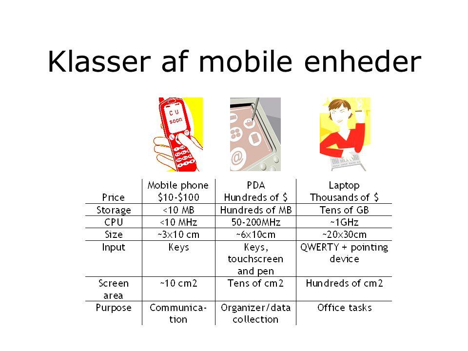Klasser af mobile enheder