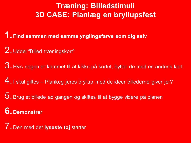 Træning: Billedstimuli 3D CASE: Planlæg en bryllupsfest 1.