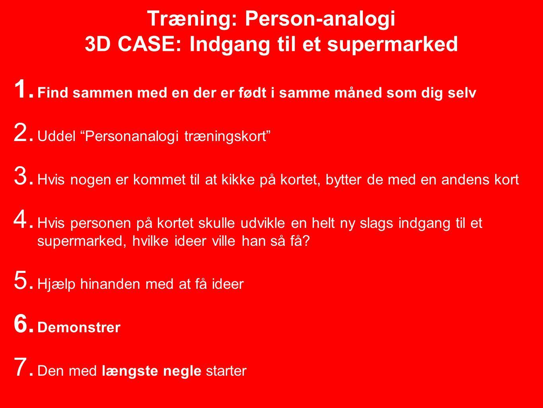 Træning: Person-analogi 3D CASE: Indgang til et supermarked 1.