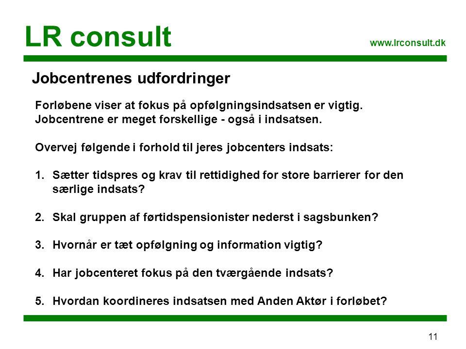 11 LR consult www.lrconsult.dk Jobcentrenes udfordringer Forløbene viser at fokus på opfølgningsindsatsen er vigtig.