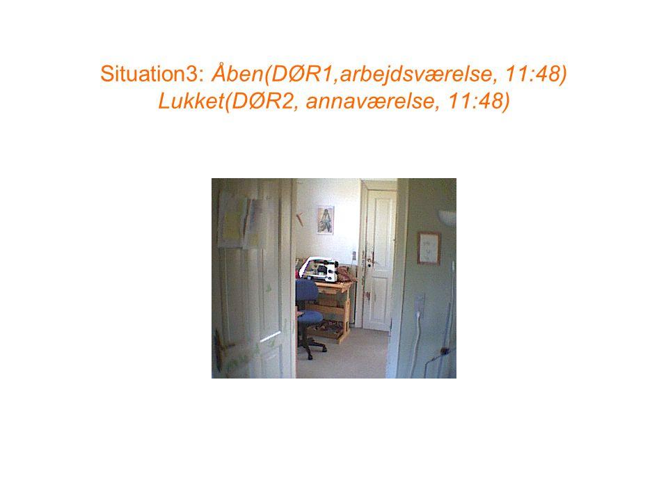 Situation3: Åben(DØR1,arbejdsværelse, 11:48) Lukket(DØR2, annaværelse, 11:48)