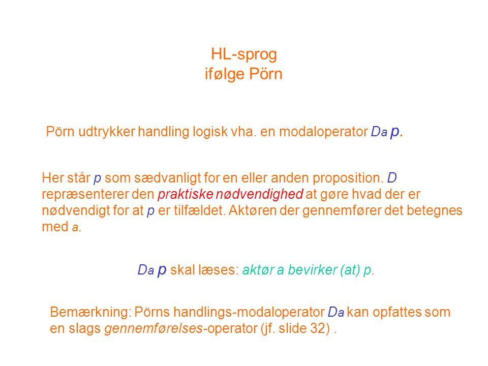 HL-sprog ifølge Pörn Pörn udtrykker handling logisk vha.