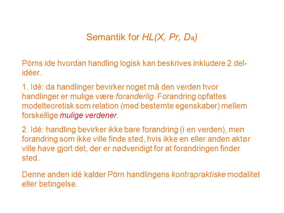 Semantik for HL(X, Pr, D a ) Pörns ide hvordan handling logisk kan beskrives inkludere 2 del- idéer.