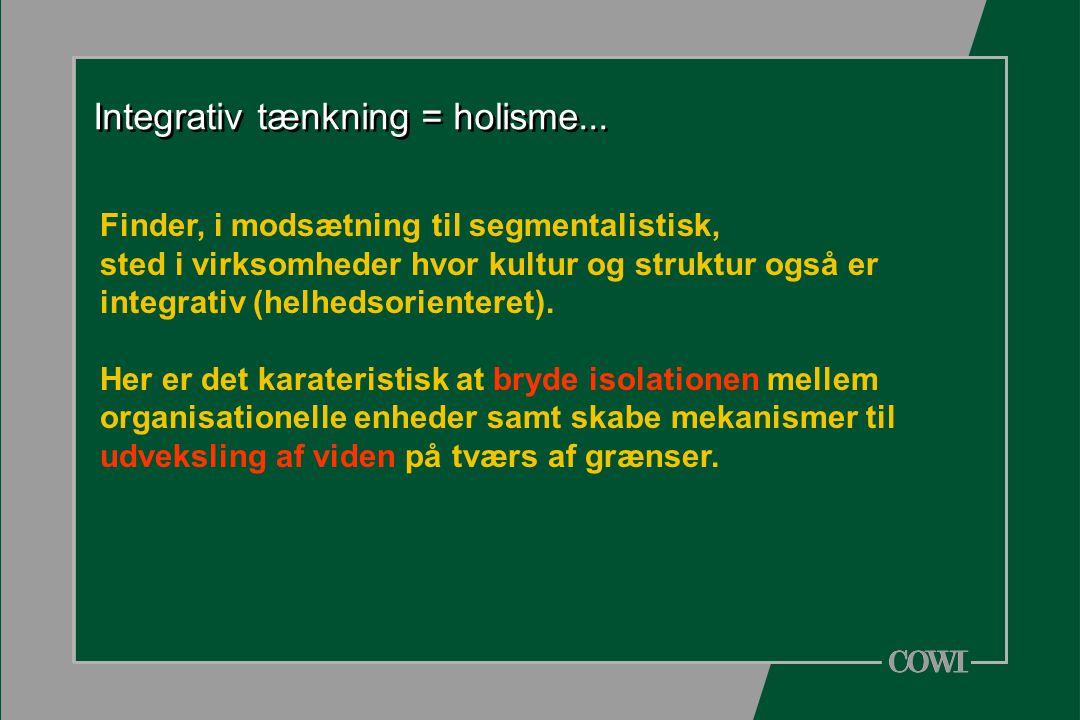 Integrativ tænkning = holisme...