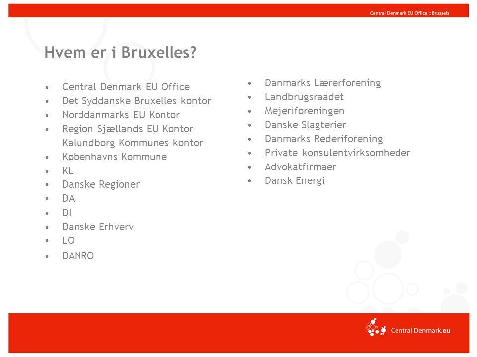 Virksomheder Kommuner Region Midtjylland Udd.- institutioner Andre EU's institutioner særligt Kommissionen Europæiske netværk Andre organisationer, repræsentationer etc.