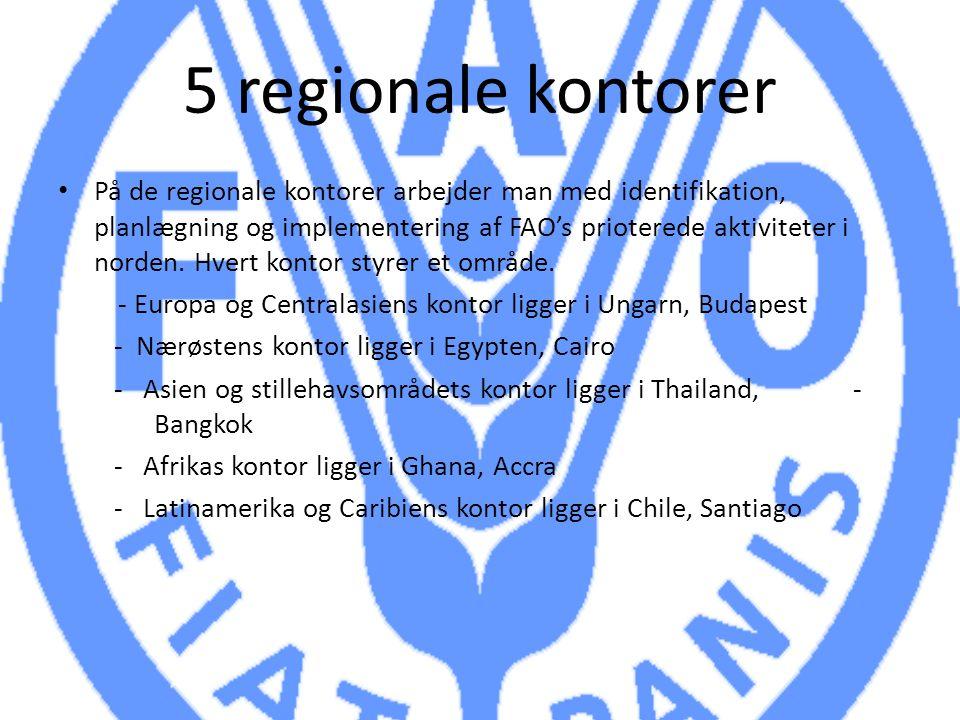 5 regionale kontorer På de regionale kontorer arbejder man med identifikation, planlægning og implementering af FAO's prioterede aktiviteter i norden.