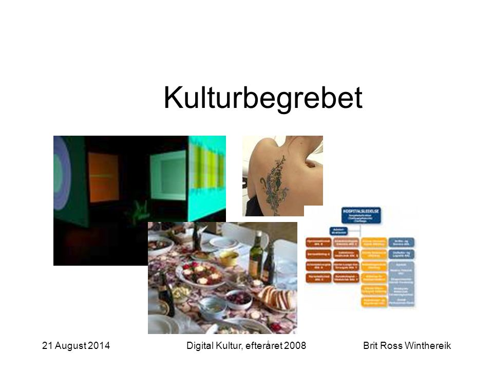 21 August 2014Digital Kultur, efteråret 2008Brit Ross Winthereik Kulturbegrebet