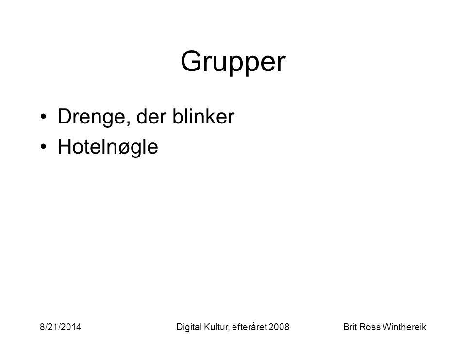 Grupper Drenge, der blinker Hotelnøgle 8/21/2014Digital Kultur, efteråret 2008Brit Ross Winthereik