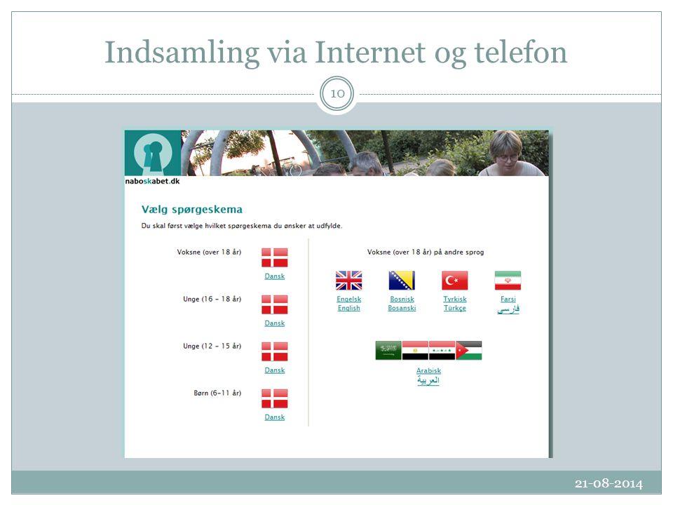Indsamling via Internet og telefon 21-08-2014 10