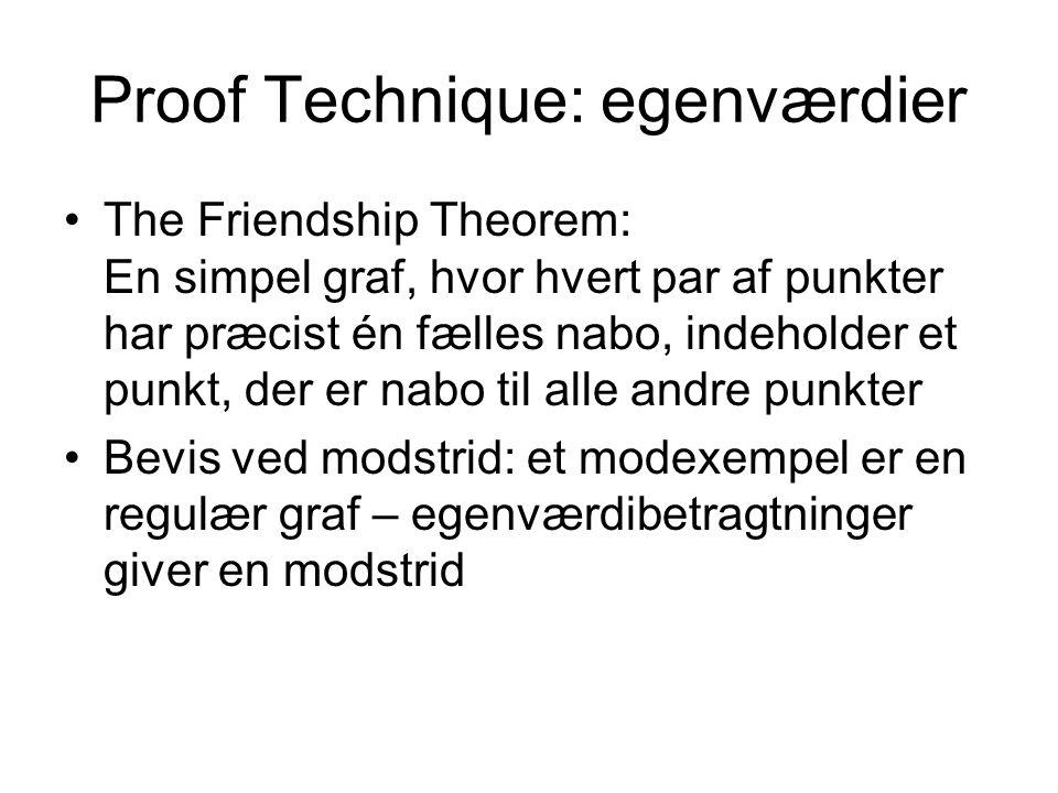 Proof Technique: egenværdier The Friendship Theorem: En simpel graf, hvor hvert par af punkter har præcist én fælles nabo, indeholder et punkt, der er nabo til alle andre punkter Bevis ved modstrid: et modexempel er en regulær graf – egenværdibetragtninger giver en modstrid