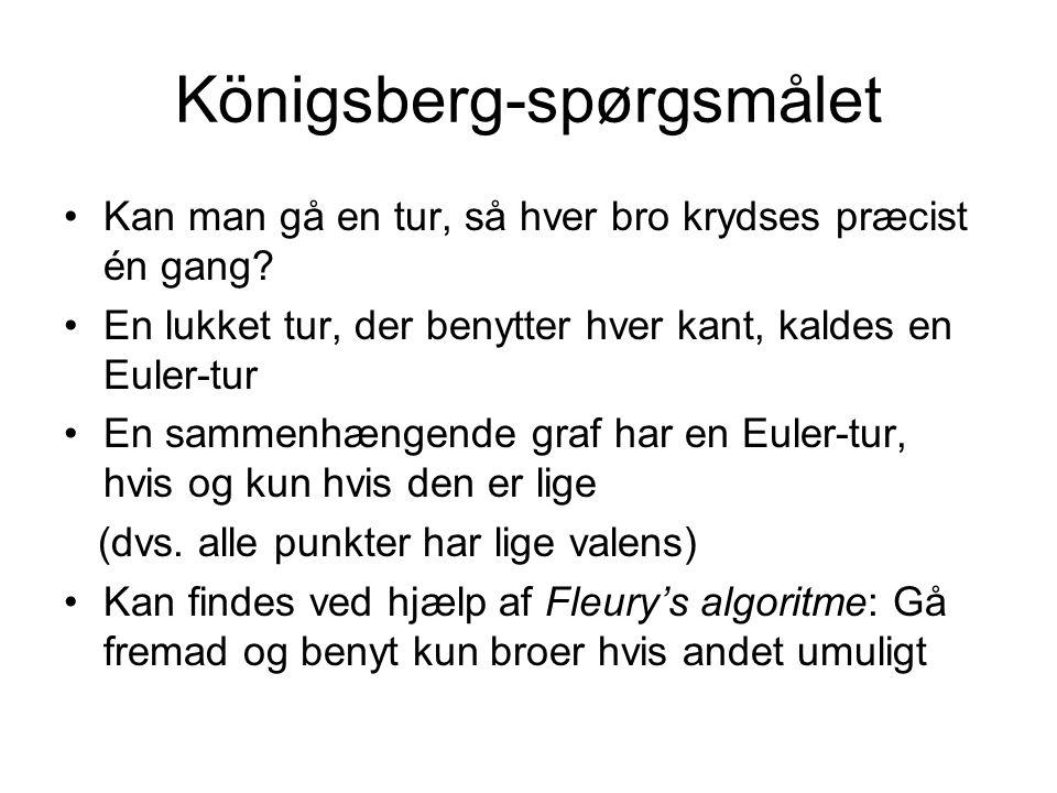 Königsberg-spørgsmålet Kan man gå en tur, så hver bro krydses præcist én gang.