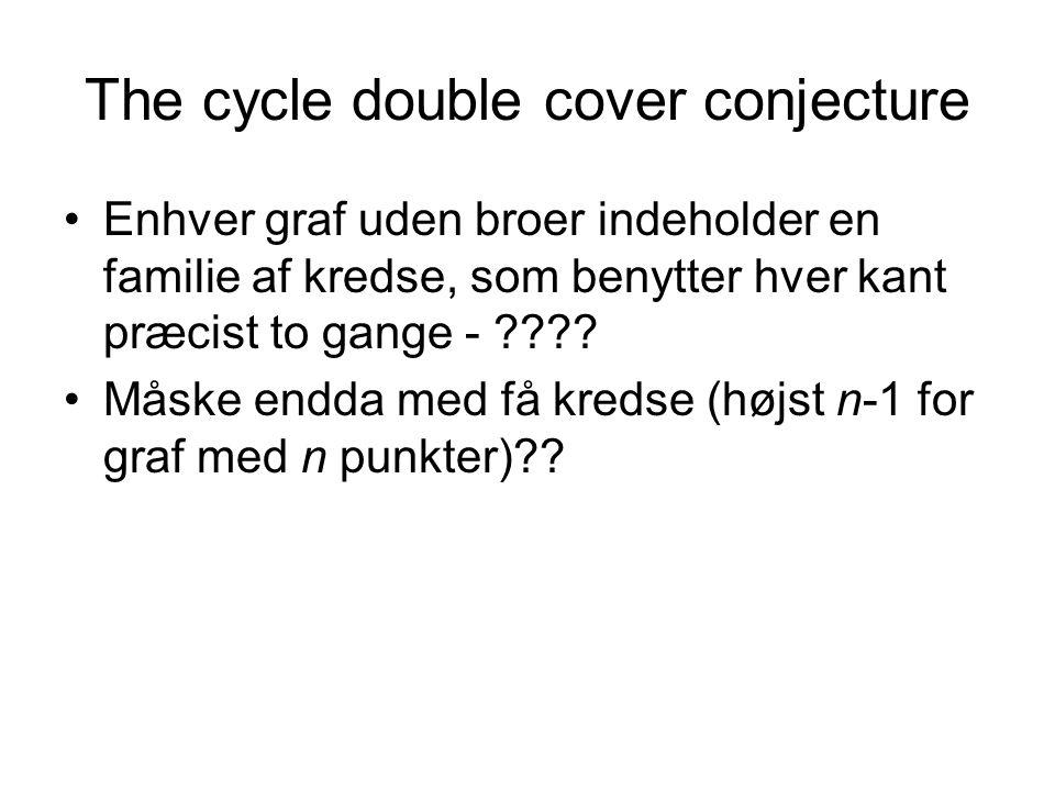 The cycle double cover conjecture Enhver graf uden broer indeholder en familie af kredse, som benytter hver kant præcist to gange - .