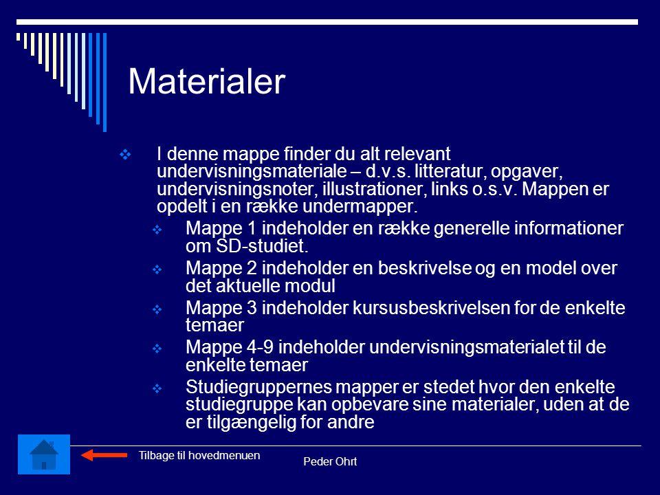 Peder Ohrt Materialer  I denne mappe finder du alt relevant undervisningsmateriale – d.v.s.