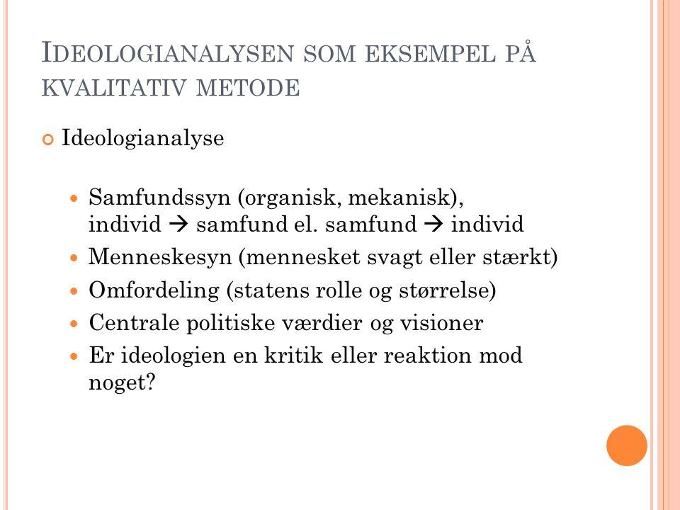 I DEOLOGIANALYSEN SOM EKSEMPEL PÅ KVALITATIV METODE Ideologianalyse Samfundssyn (organisk, mekanisk), individ  samfund el.