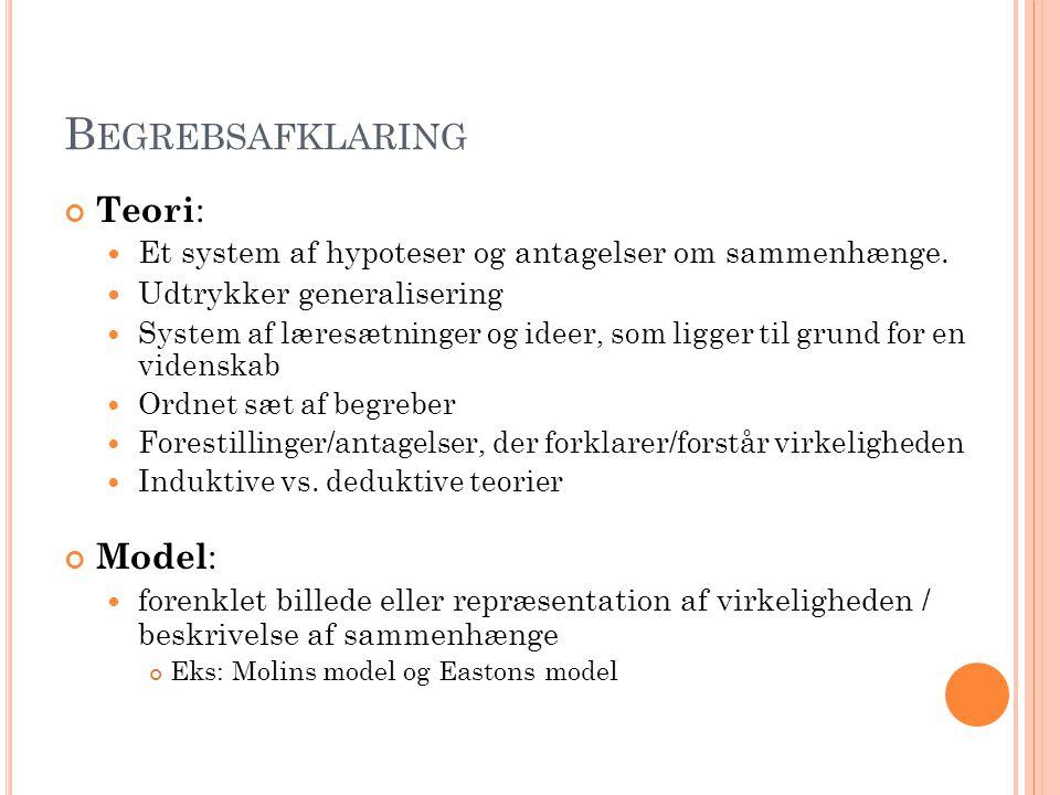 B EGREBSAFKLARING Teori : Et system af hypoteser og antagelser om sammenhænge.
