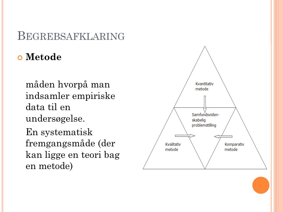 R EFLEKSION OVER METODERNES MULIGHEDER OG BEGRÆNSNINGER Komparativ metode MulighederBegrænsninger Man kan bruge metoden på mikroniveau (grupper og individer) og makroniveau (lande og systemer) og på den måde finde forskelle og ligheder Hvis fokus på ligheder: Risiko for at ignore vigtige strukturelle eller kulturelle karakteristika Hvis fokus på forskelle: Risiko for at overdrive vigtigheden af visse (irrelevante) elementer