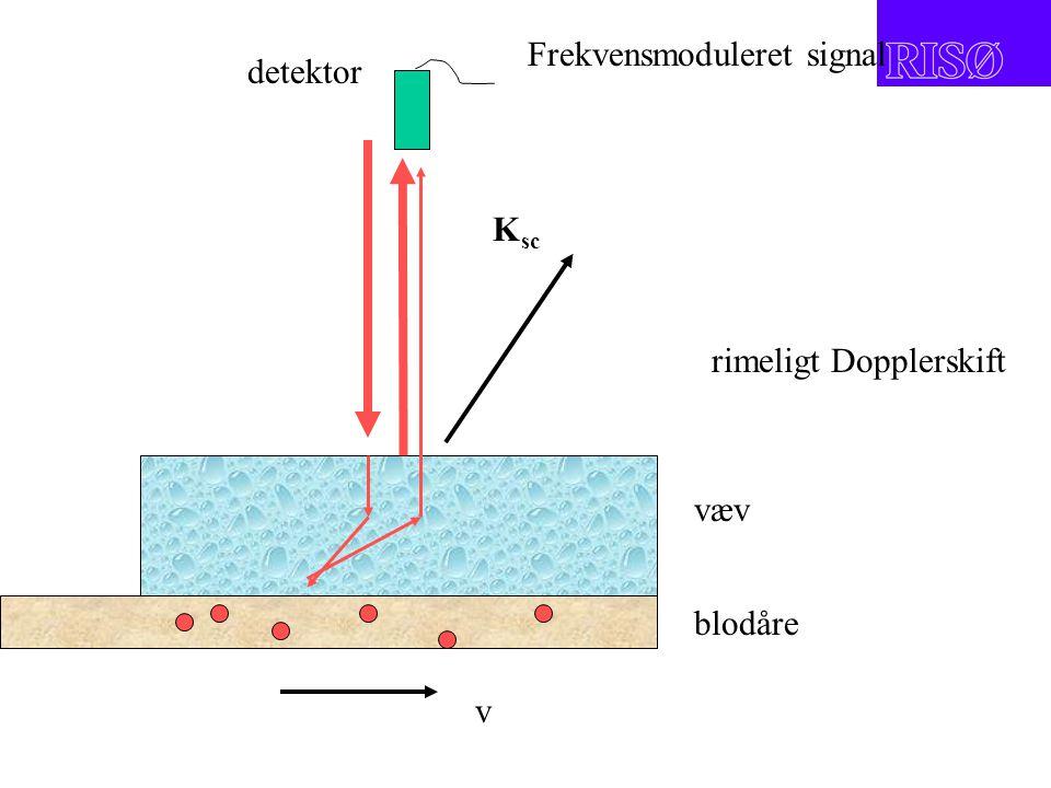 v rimeligt Dopplerskift K sc væv blodåre detektor Frekvensmoduleret signal