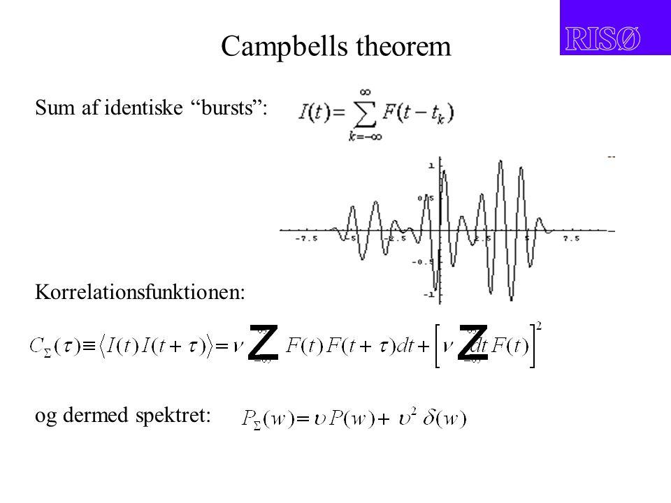 Campbells theorem Sum af identiske bursts : Korrelationsfunktionen: og dermed spektret: