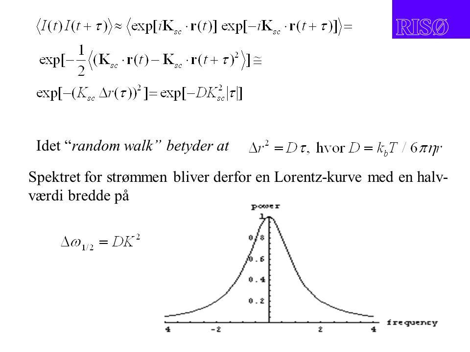Idet random walk betyder at Spektret for strømmen bliver derfor en Lorentz-kurve med en halv- værdi bredde på