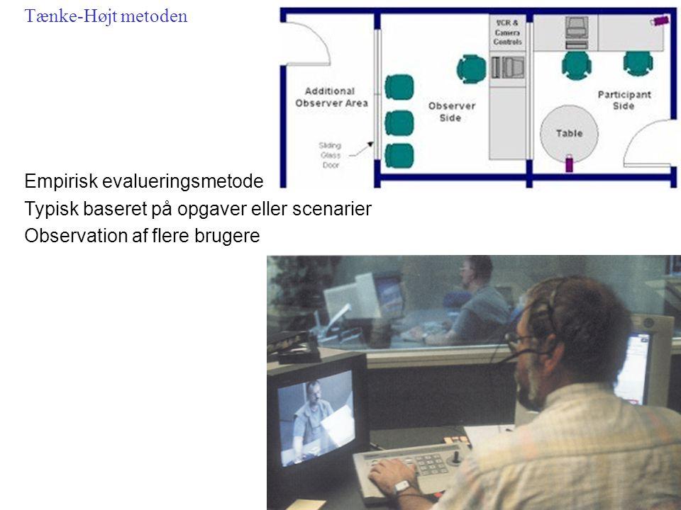 Empirisk evalueringsmetode Typisk baseret på opgaver eller scenarier Observation af flere brugere Tænke-Højt metoden