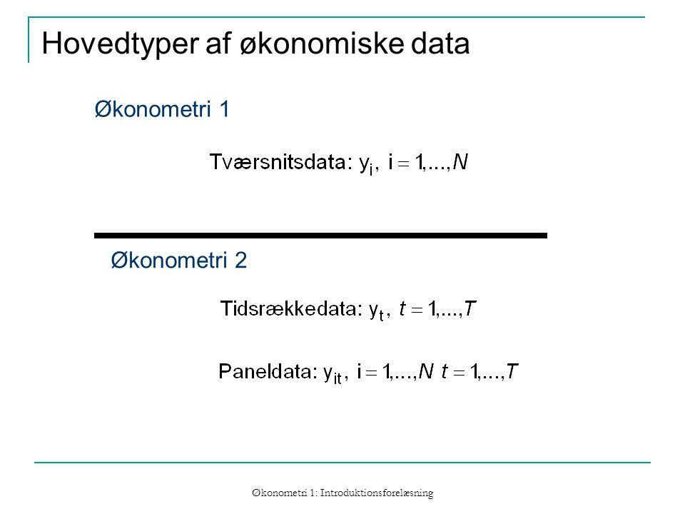 Økonometri 1: Introduktionsforelæsning Hovedtyper af økonomiske data Økonometri 1 Økonometri 2