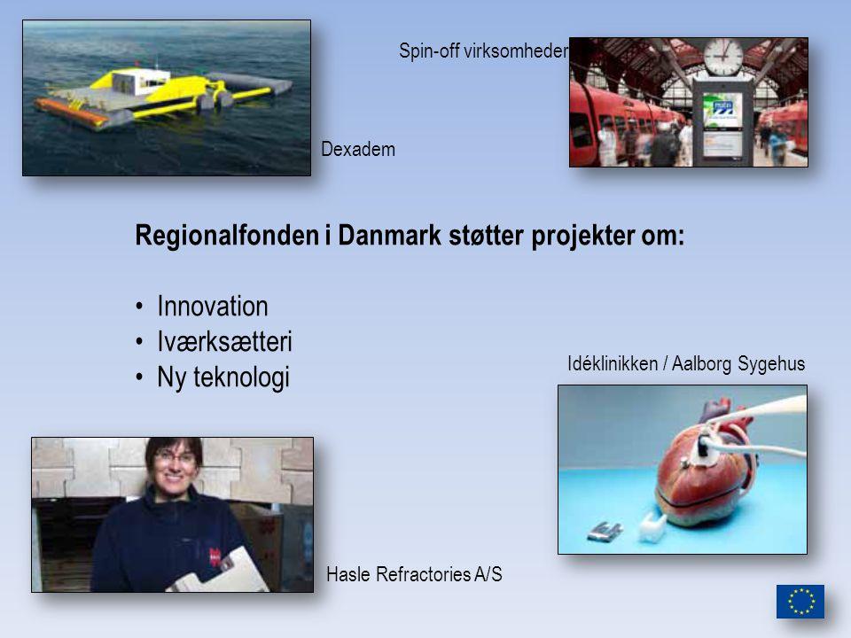 Dexadem Spin-off virksomheder Hasle Refractories A/S Idéklinikken / Aalborg Sygehus Regionalfonden i Danmark støtter projekter om: Innovation Iværksætteri Ny teknologi