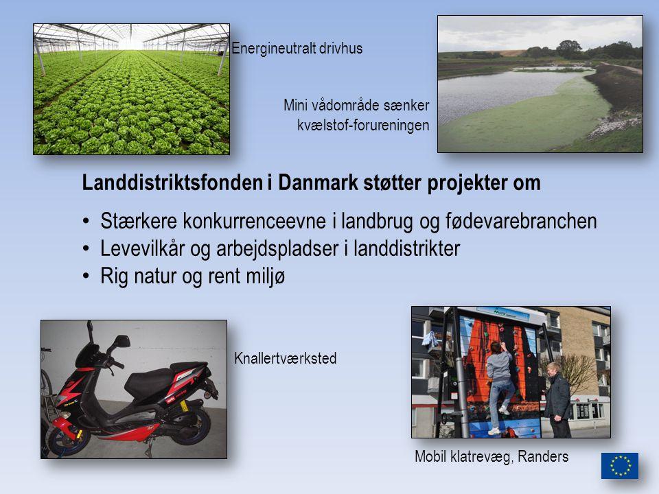 Landdistriktsfonden i Danmark støtter projekter om Stærkere konkurrenceevne i landbrug og fødevarebranchen Levevilkår og arbejdspladser i landdistrikter Rig natur og rent miljø Mobil klatrevæg, Randers Energineutralt drivhus Mini vådområde sænker kvælstof-forureningen Knallertværksted