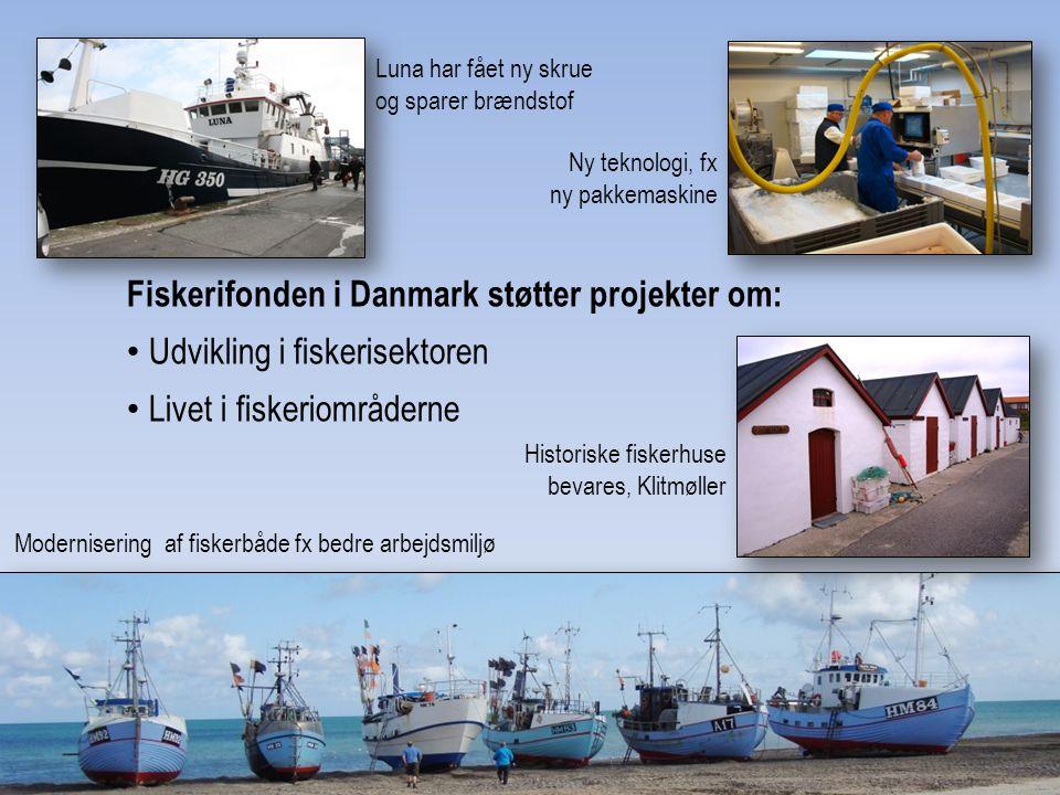 Fiskerifonden i Danmark støtter projekter om: Udvikling i fiskerisektoren Livet i fiskeriområderne Modernisering af fiskerbåde fx bedre arbejdsmiljø Historiske fiskerhuse bevares, Klitmøller Ny teknologi, fx ny pakkemaskine Luna har fået ny skrue og sparer brændstof