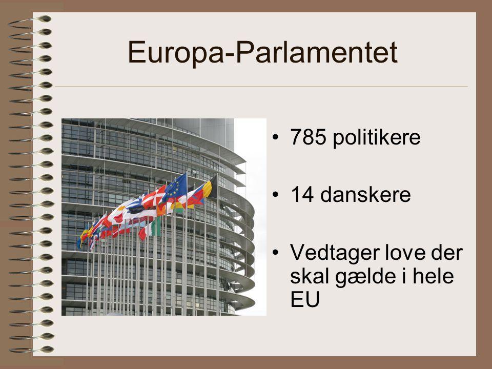 Europa-Parlamentet 785 politikere 14 danskere Vedtager love der skal gælde i hele EU