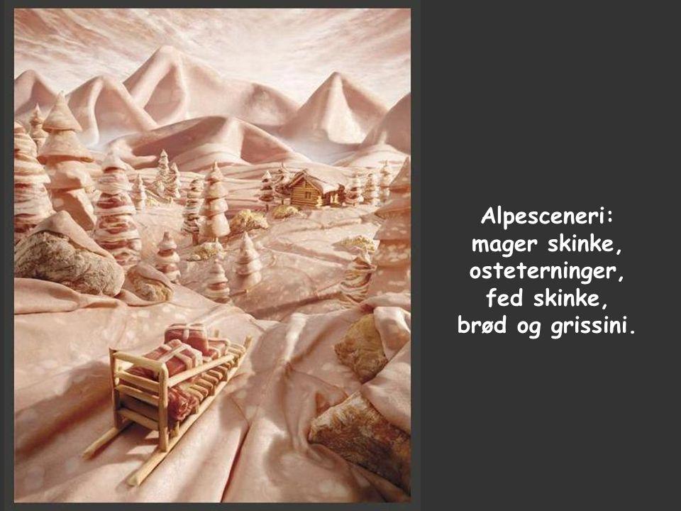 Alpesceneri: mager skinke, osteterninger, fed skinke, brød og grissini.