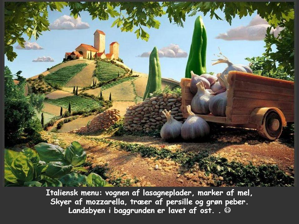 Italiensk menu: vognen af lasagneplader, marker af mel, Skyer af mozzarella, træer af persille og grøn peber.