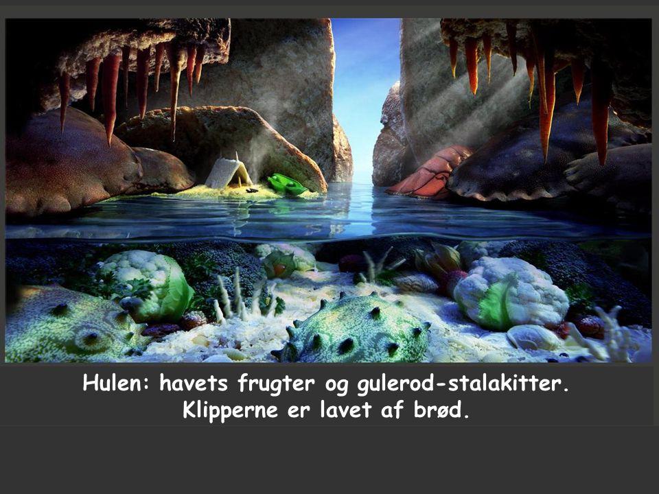 Hulen: havets frugter og gulerod-stalakitter. Klipperne er lavet af brød.