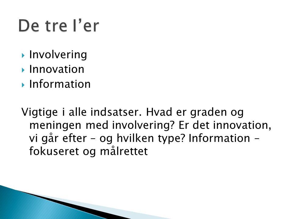  Involvering  Innovation  Information Vigtige i alle indsatser.