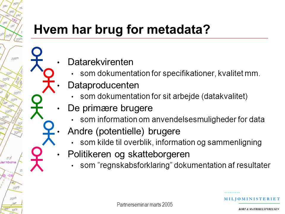 Partnerseminar marts 2005 Hvem har brug for metadata.