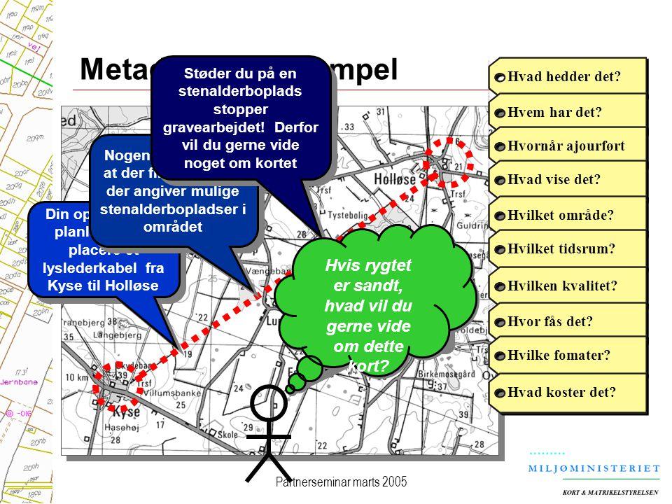 Partnerseminar marts 2005 Metadata: et eksempel Din opgave er at planlægge og placere et lyslederkabel fra Kyse til Holløse Nogen fortæller dig at der findes et kort der angiver mulige stenalderbopladser i området Hvad hedder det Hvem har det Hvornår ajourførtHvad vise det Hvilket område Hvilket tidsrum Hvilken kvalitet Hvor fås det Hvilke fomater Hvad koster det.
