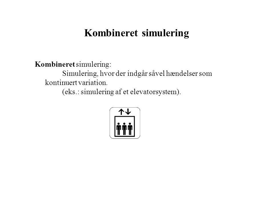 Kombineret simulering Kombineret simulering: Simulering, hvor der indgår såvel hændelser som kontinuert variation.