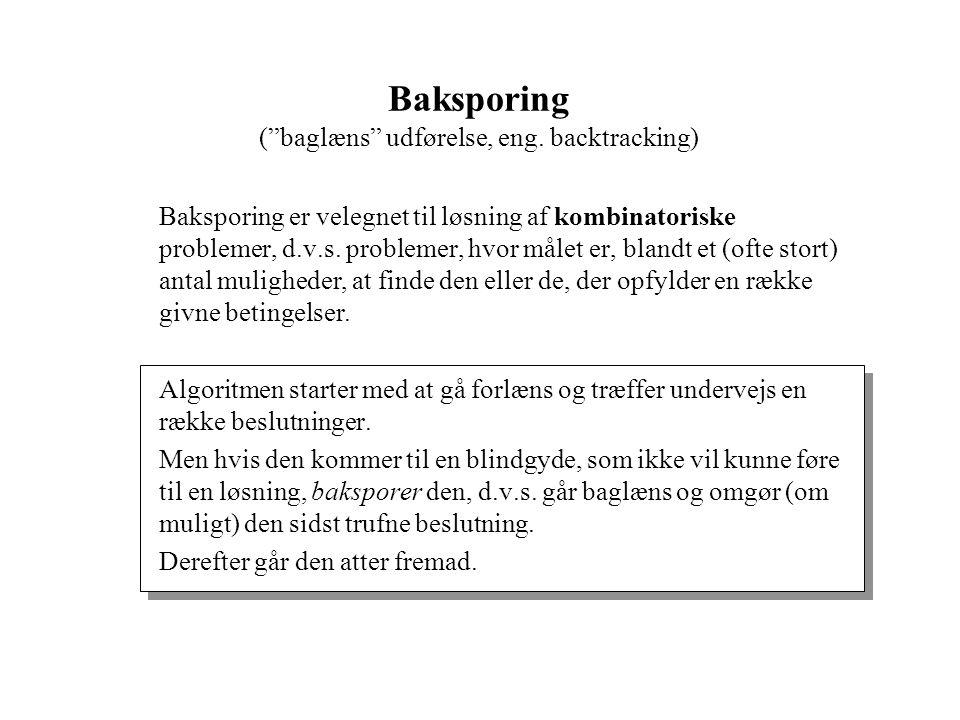 Baksporing ( baglæns udførelse, eng.